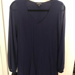 Express-Navy-Long sleeved dress-Size S